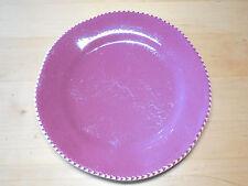 "Home Italy Set of 4 Dinner Plates 11 1/2"" Wide Rim Purple Raspberry Brown Edge"