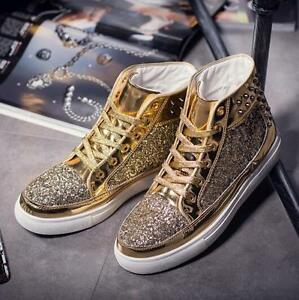 Mens lace up high top rivet punk hip hop sequins flat casual shoes sneakers T78