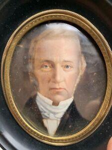 Antique Portrait Miniature On Panel Original Black Ebonised Oval Frame