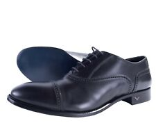 NWB EMPORIO ARMANI dress SHOES Oxford cap toe black leather luxury Italy US 7