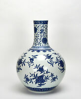 Large Chinese Qing Qianlong MK Blue and White Floral Globular Porcelain Vase
