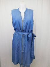 INC Plus Size Sleeveless Belted Zip-Up Denim-Look Dress 24W Blue Indigo #4873