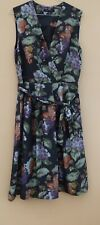 LAURA ASHLEY SILK DRESS BLACK FLORAL SLEEVELESS LINED TIE WAIST UK12