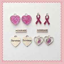 12 Breast Cancer Awareness Pink Ribbon Survivor Courage Charm P5 Jewelry Making
