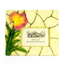 """Picture Frame 3D Pink & Yellow Hibiscus Flower on Marble for 3.5""""x5"""" Photo _3052"""