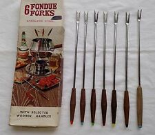 VINTAGE WOODEN JAPAN Fondue FORKS Greens Blue Grey Yellow Orange Stainless Steel