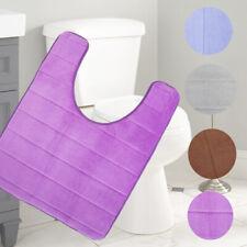 U-Shaped Toilet Mat Memory Foam Bath Non-Slip Mats Floor Coral Fleece Carpet Rug