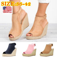 Women's Peep-Toe Hollow Out Buckle High Wedge Heels Sandals Flat Platform Shoes