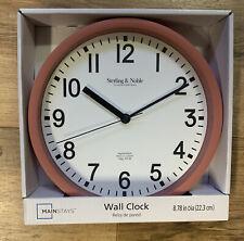 Sterling & Noble 8.78 in. Diameter Quartz Wall Clock Analog Display Clay Brick