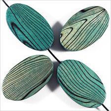 4 Perle in legno Ovale basse 20 x 30 mm Blu Verde Decorato