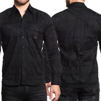 AFFLICTION Mens Button Down Shirt BLACK IN BACK Embroidered BKE Buckle $88 NWT