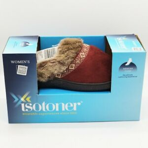 Isotoner Slippers Sz MD 7.5 - 8 Memory Foam Heel Cushion