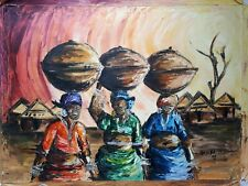 African olio/acrilico dipinto originale firmato 3 donna su TELA Tribal Folk Art