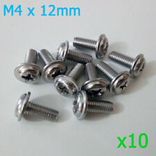 M4 12mm Qty 10 Stainless Steel With Washer Pad Round Head Phillips Screws Bolts