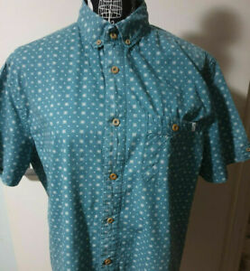 MENS SHIRT PIPING HOT GREEN TRIBAL CIRCLE DRESS SHIRT MEDIUM BUTTON UP
