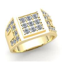 3ctw Round Brilliant Cut Diamond Men's Pave Engagement Pinky Ring 18K Gold
