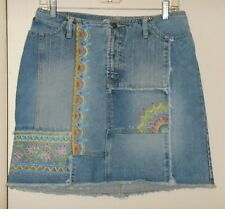 OOAK Upcycled Painted Mandala India Festival Hippie Boho Faded Denim Skirt Sz 8