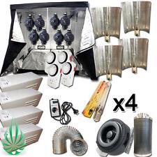 """Hydroponics 4x 600W HPS Ballast Ref HPS Lamp Grow Tent 8"""" Duct Fan Filter Combo"""