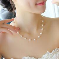 Vintage Jewelry Pendant Chain Pearl Choker Chunky Statement Bib Necklace Gift