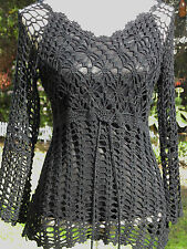 BLACK CROCHET STRETCH VINTAGE TUNIC TOP SIZE 10-12, GOTHIC, STEAMPUNK, BOHO