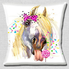 "Funny Horse Pony Cushion Cover 16""x16"" 40cm Cushion Cover Licking Lollipop"