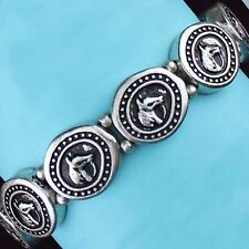 Horse Bracelet | Stamped Oval Horse Head | Silver Tone | Stretch Bracelet