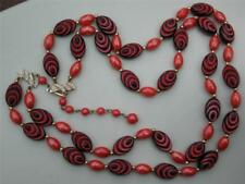 LOVELY 60S DESIGNED ORANGE AND BLACK DOUBLE ROW NECKLACE- NEW OLD STOCK