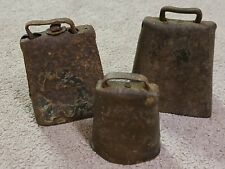Antique Cow Bells Lot Of Three Rusty Condition