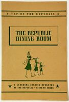 1943 Original Vintage Menu THE REPUBLIC SHOPS DINING ROOM Chicago Illinois