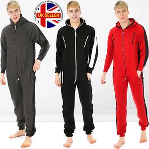 Mens All In One Piece Payjama Jumpsuits Plain Fleece Hooded Nightwear PlaySuits