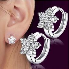 Fashion Women Girl 925 Silver Plated Snowflake Crystal Zircon Ear Hoop Earrings
