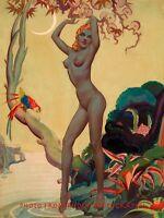 "Nude Woman Tropical Paradise 8.5x11"" Photo Print Alberto Vargas Naked Female Art"