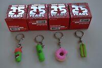 (4 Pack) The Simpsons: 25th Anniversary Keychains - Donut, Squishee, Skateboard