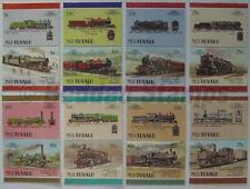 1988 NUI (Tuvalu) Set #4 Train Locomotive Railway Stamps (Leaders of the World)