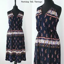VINTAGE 1970S BEACH SUNDRESS RETRO FLORAL PSYCHEDELIC HOLIDAY CASUAL SUN DRESS S