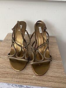 Lola Cruz Stiletto High Heel Gold/Bronze Sandal / Shoe Size Eur 39 UK 6.5