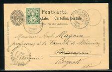 Suisse - Entier postal + complément de Sentier Collège pour la France en 1899