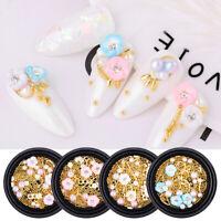 Flower Beans Gold Metal 3D Nail Art Decorations Beads Rivets Pearl Nail Tips DIY
