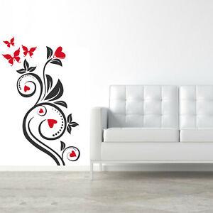 wall stickers fiori camera adesivi murali decorazioni cuori amore love a0706
