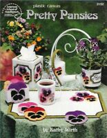 Pretty Pansies in Plastic Canvas ASN 3152 Tissue Box Coasters Place Mat & More
