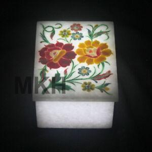 Marble Jewelry Box Inlay Stone Boxes Pietra Dura Trivet Scagliola Art Vintage