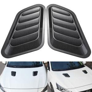 Universal Car ABS Decorative Air Flow Intake Bonnet Vent Hood Cover Carbon Fiber