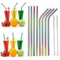 Rainbow Stainless Steel Straws With Silicone Case Reusable Brush Straw Drin C8F5