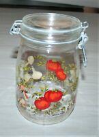 Vintage Niveau De Remplissage 1L Glass Jar With Clamp Lid / No Rubber Gasket