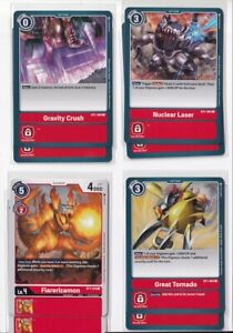 Digimon TCG 2020 English Booster 1.0 - Complete C/UC Set of 35 Red Cards