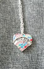 Multi Color Rhinestone Love Heart Pendant Necklace Big Sis with gift bag