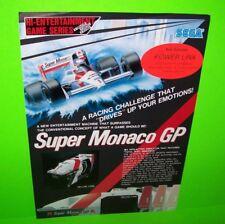 Sega SUPER MONACO GP 1990 Original NOS Video Arcade Game Promo Sales Flyer Adv.
