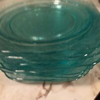 Madrid Pattern Aqua Glass Bread And Butter Plates Set Of Eight Chips