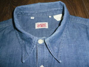 LEVI'S LVC 1920 SUNSET BLUE CHAMBRAY COTTON ONE POCKET SHIRT SIZE M MADE IN USA