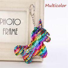 Girls Funky Rainbow Sequin Detail Unicorn Magic Pendant Keyring Gift Bag Charm